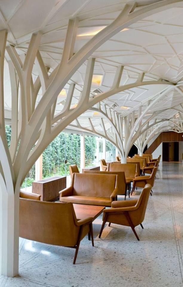 Modernized gothic architectural details.  #lobbydesign #gothicarchitecture
