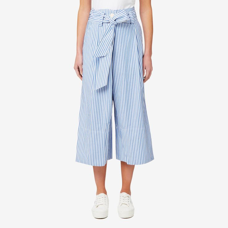 $119.95 @ Seed. Embrace a relaxed style with this pant. Complete with a fashionable blue stripe print and a double button closure with tie, dress it down with a tee and sneakers or up with heels for a night out. Made from 100% cotton, it
