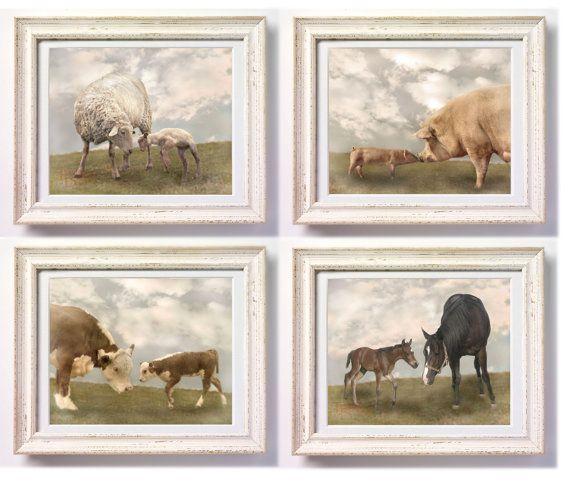 Set of Baby Animals - great nursery decor!Art Soft, Wall Art So, Baby Farms Animal, Nursery Wall Art, Etsy Photographers, Baby Farm Animals, Baby Girls, Baby Animals, Animal Sets