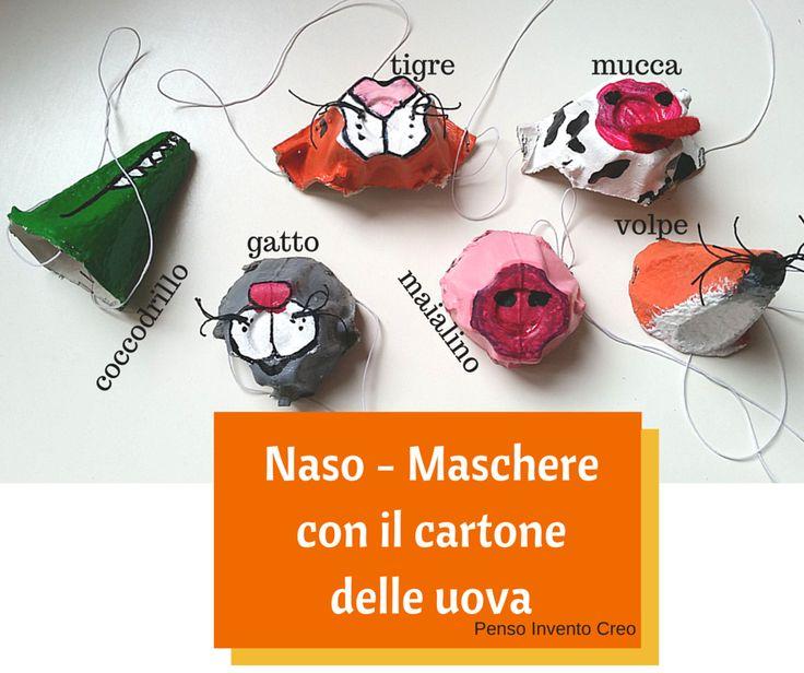 Come fare delle maschere con il cartone delle uova, un'idea per la festa di Carnevale - Penso Invento Creo