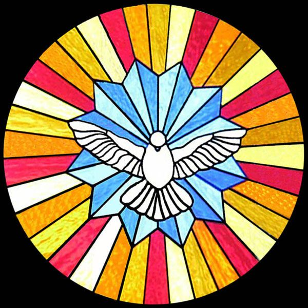 Depicts the Holy Spirit as a Pure, white dove.   Religious Stained Glass - Scottish Stained Glass