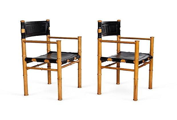 Wood & Black Leather Chairs, Pair on OneKingsLane.com