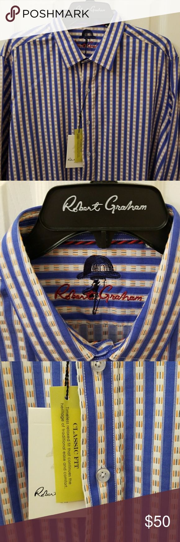 Robert Graham button Down Size Large Robert Graham button down classic fit shirt . Brand new with tags attached - pre owned - never used. Premium Robert Graham quality Robert Graham Shirts