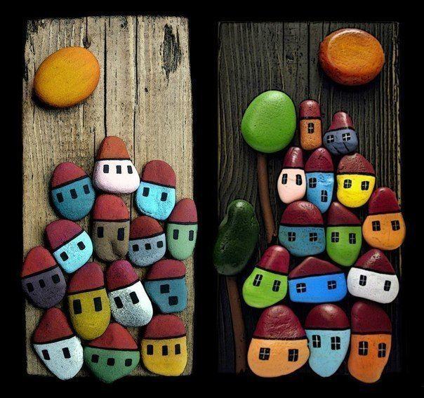 Детское творчество. Картины из камней