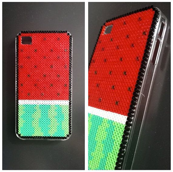 Watermelon phone hard case plastic cover decorated with hama mini beads by BlackChameleon