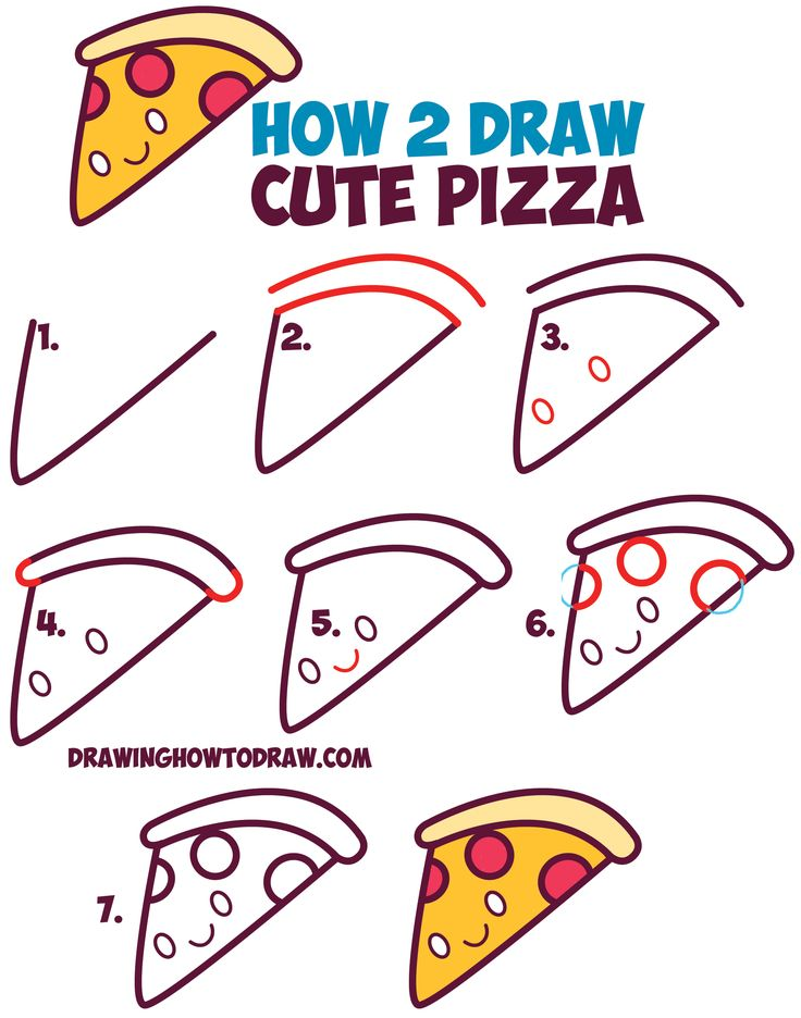 how to draw cute kawaii pizza slice with face on it easy step by step - Easy Drawing Pictures For Kids