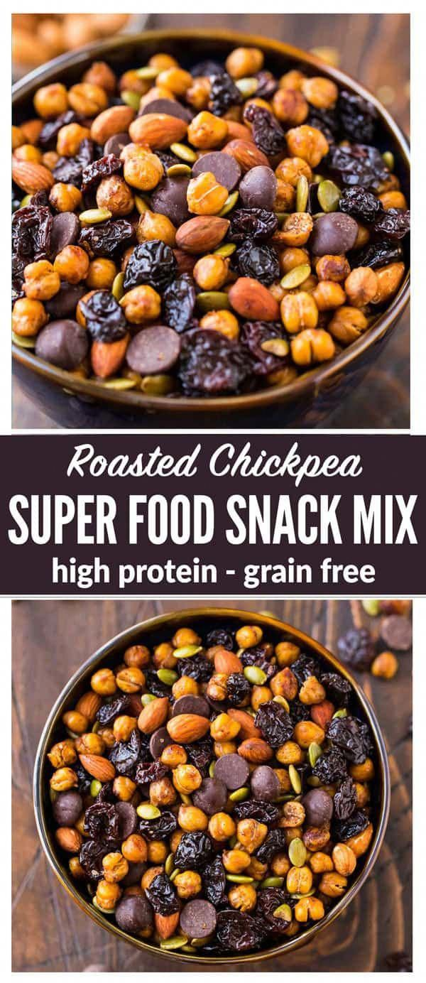 Roasted Chickpea Snack Mix – Crunchy cinnamon oven roasted chickpeas with drie…   – clean eating snacks ideas