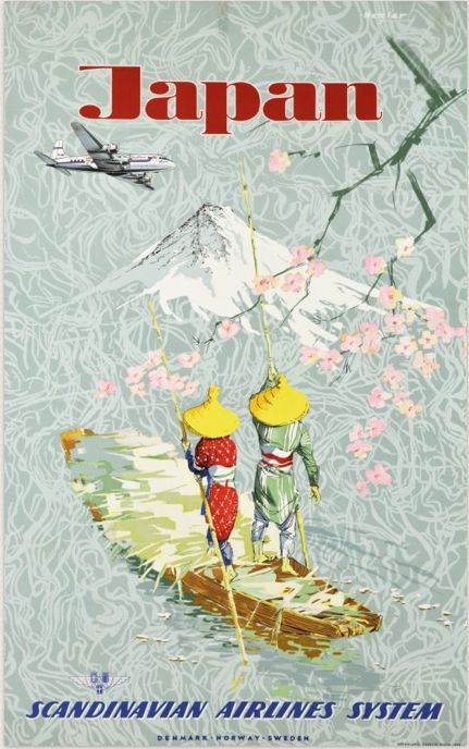 Scandinavian Airlines System to Japan, vintage travel poster