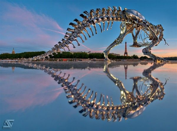Chrome T-Rex Sculpture on the Banks of the Seine in Paris by Philippe Pasqua