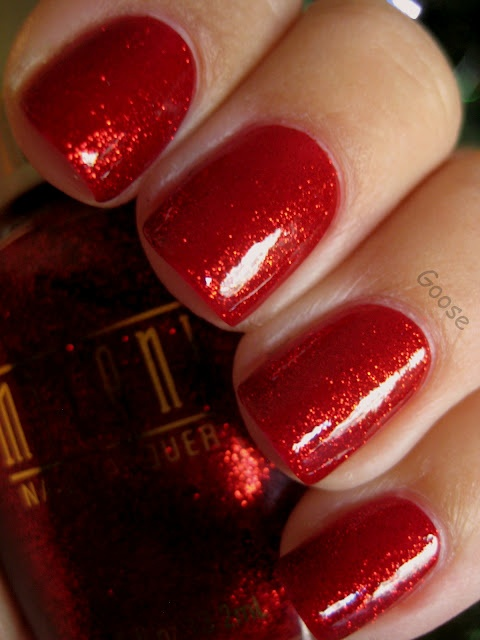 Milani Ruby Jewels, my favorite nail polish, it reminds me of the ruby slippers in The Wizard of oz,  I like to wear this around Christmas or Valentines day.