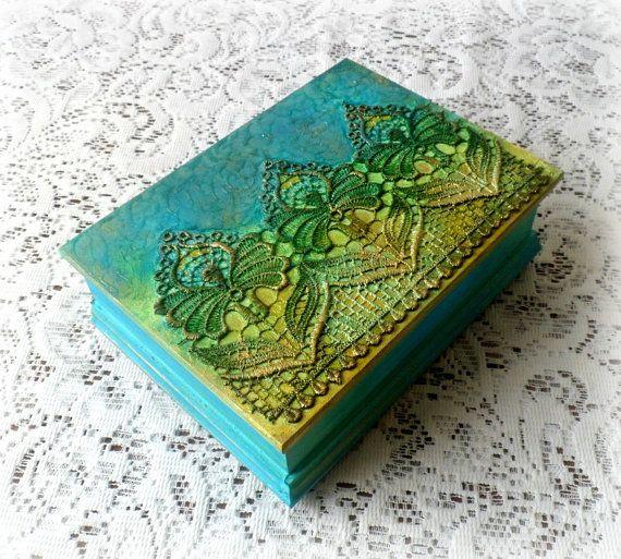 $28. Wooden jewellery box treasure box keepsake by CarmenHandCrafts
