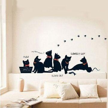 Etiqueta de parede removível da família de gato preto Decoração do quarto Decoração Decalque de parede