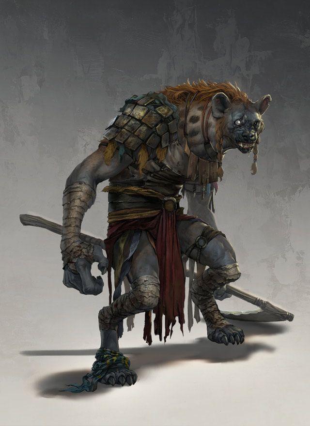 Gnoll - Esse humanoide é um pouco mais alto que um humano. Sua pele é acinzentada e coberta de pelos, e sua cabeça lembra uma hiena, com uma juba vermelho-acinzentada. Um gnoll têm em cerca de 2,25 m de altura e pesa 150 kg.