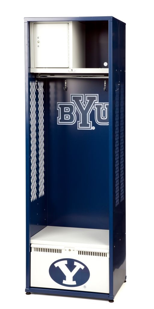 BYU personal team locker with official team colors and insignia. College sports locker. Perfect storage for your man cave, mudroom, teen bedroom, or office!