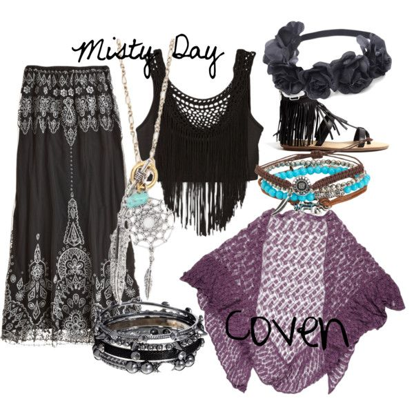 """Misty Day"" by wica-witch on Polyvore (I love the top and skirt, not so much the shall...)"
