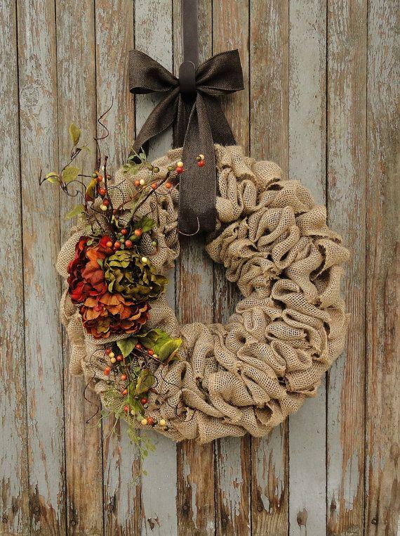 Autumn Peony Burlap Wreath--Fall Burlap Wreath with Peony Flowers--Burlap Wreath--Fall Burlap Wreath--Autumn Burlap Wreath--