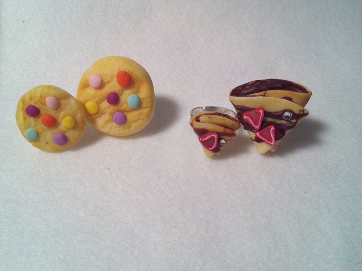 polymer clay fimo crepes and cookies rings