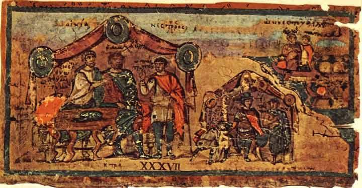 Incontro tra Nestore e Patroclo nella tenda di Nestore, dall'Iliade ambrosiana / Meeting between Nestor and Patroclus in Nestor's tent, from the Ambrosian Iliad