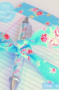 Scrap Fabric Notebook and Pen Set   37 Awesome DIYs To Make Before School Starts