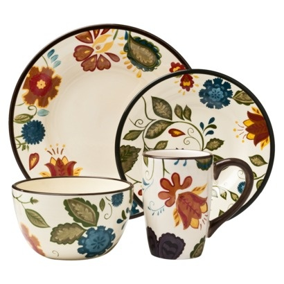 Our dinnerware from Target! Love it! I can't wait to pair it with light blue walls & yellow paula deene cookware :)