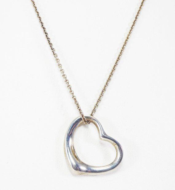 14k white gold color tone chain and large heart charm pendent over real 925 sterling silver