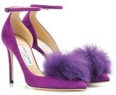 Jimmy Choo Rosa 100 suede pumps with clip-on fur pompoms