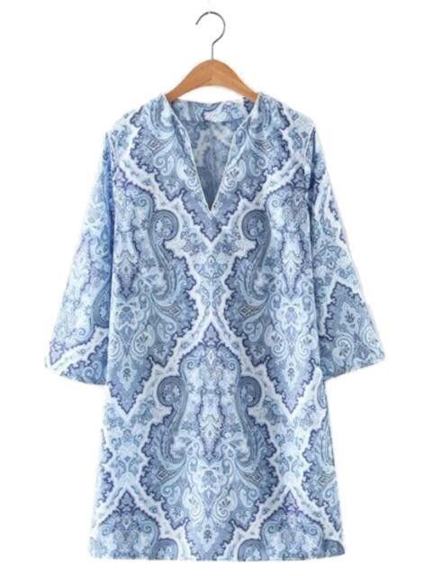women V-neck vintage blue and white shirt dress three quarter sleeve side zipper summer casual chiffon dresses vestidos