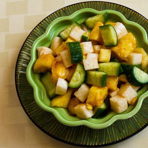 Cucumber, Jicama, and Pineapple Salad with Spicy Sriracha Dressing: Pineapple Salad, Kalynskitchen, Food, Salad Recipe, Cucumber Jicama, Glutenfree, Jicama Salad, Spicy Sriracha