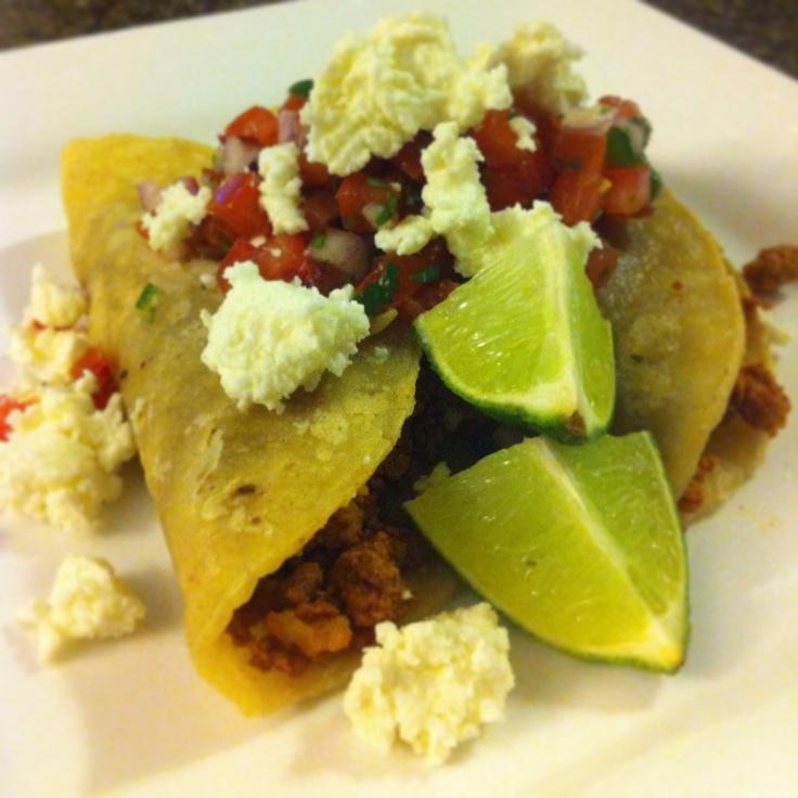 Homemade chorizo, homemade corn tortilla, refried beans, pico de gallo, queso fresco. #chef_junpet