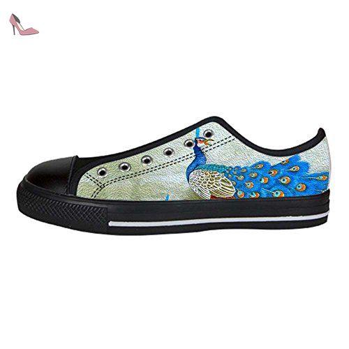 Dalliy beau paon Men's Canvas Shoes Lace-up High-top Footwear Sneakers Chaussures de toile Baskets - Chaussures dalliy (*Partner-Link)