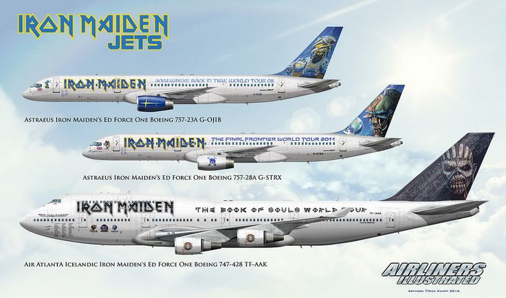 https://flic.kr/p/FHSNUi   IRON MAIDEN ED FORCE ONE JETS G-OJIB G-STRX TF-AAK AIRLINER ART   Airliners Illustrated® by Nick Knapp©. www.AirlinersIllustrated.com
