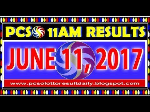 PCSO 11AM LOTTO RESULTS JUNE 11, 2017 (SWERTRES & EZ2)