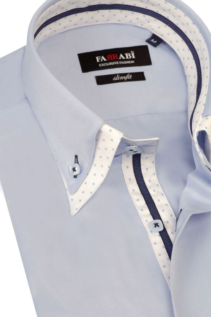 F7 Blue Shirt | Farrabi Slim Fit | Exclusive Luxury Shirts