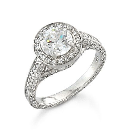 Ladies 18kt white gold diamond pave engagement ring 1.00 ctw G-VS2 quality diamonds with 1ct natural white sapphire center