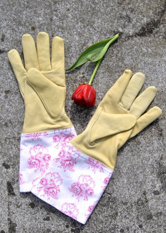 Garden glove made of goat leather with a Vintagestoffstulpe from Bavarian, traditional fabric