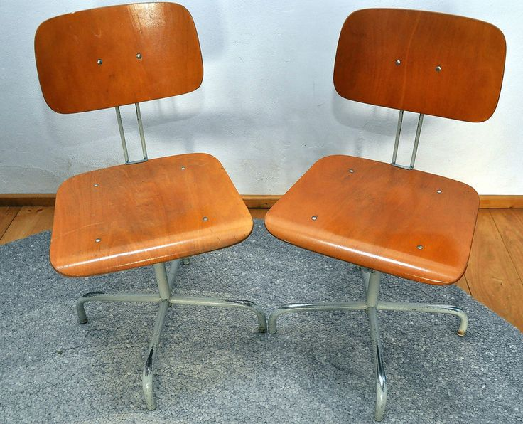 Pair Work chairs Architect chair adjustable with beautiful Patina Bauhaus Age