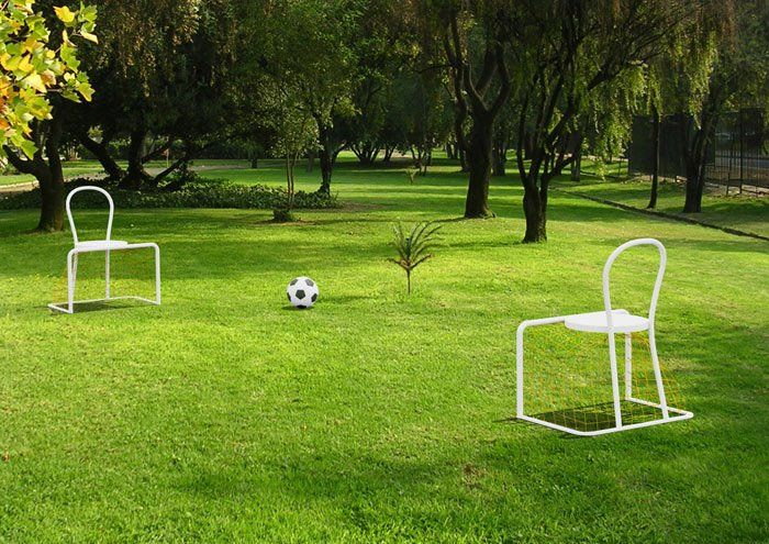 Lazy footbal is a chair to sit and play football. One of a kind, designed by Emanuele Magini for Campeggi design | Available on http://www.malfattistore.it/product/lazy-football/ | malfattistore #shoponline #interiordesign #homefurniture #chair #outdoor #livingroom