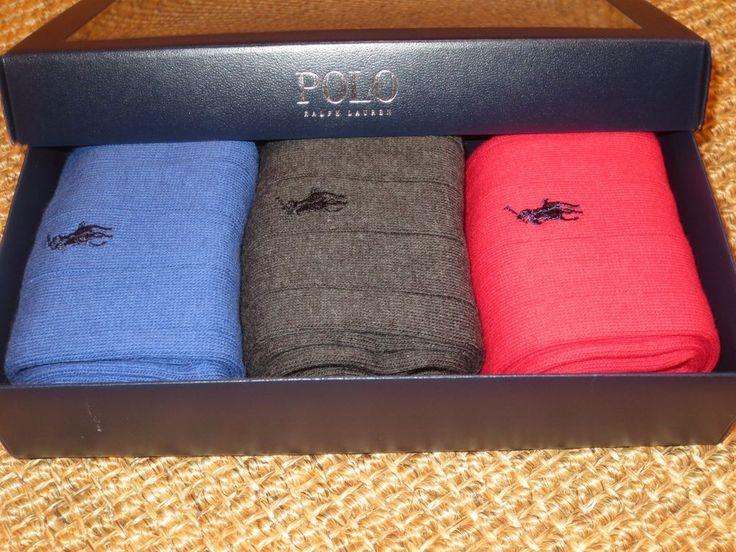 POLO RALPH LAUREN  MEN'S DRESS  SOCKS  3 PAIRS  GRAY / BLUE / RED NEW GIFT BOX  #PoloRalphLauren #Dress