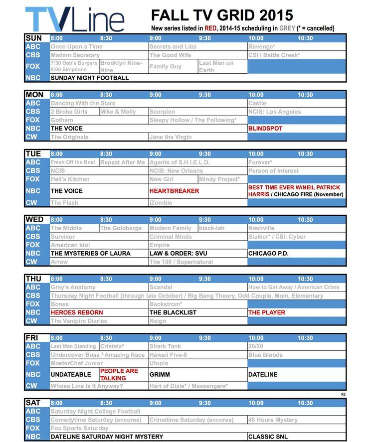 Fall TV Schedule 2015