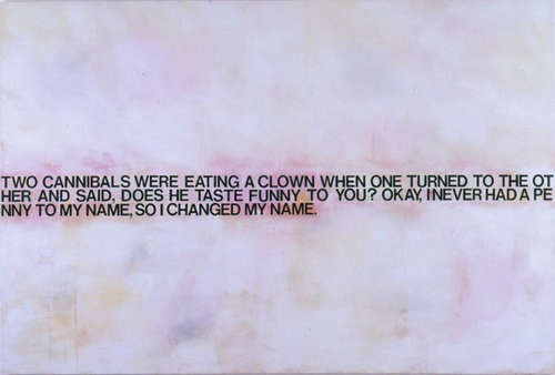 """Cannibalism; being destitute; deed poll name changes  Richard Prince, """"Cannibals and Clowns"""", 2000."""