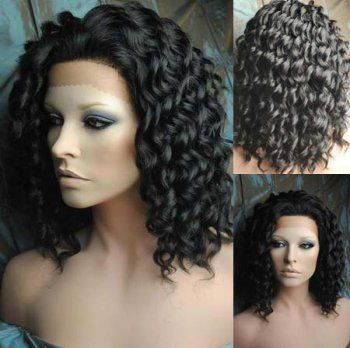 Curly #1B 18'' Synthetic High Temp Resistance Lace front wigs for black women |S12010| :