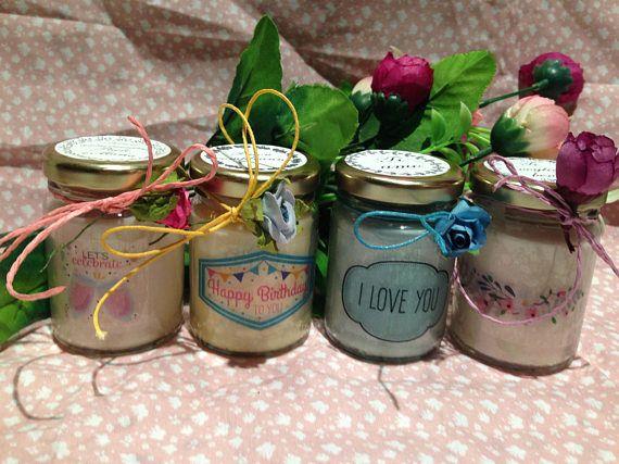 💝🎂👶🛍 4 vasetti con #candele di cera di #soia e oli essenziali per #compleanni, #anniversari, #nascite, #festa della #mamma, #san #valentino e tutte le #occasioni - personalizzabili - #Idea #regalo - shabby chic #etsy 4 vasetti con candele di cera di soia e oli essenziali per