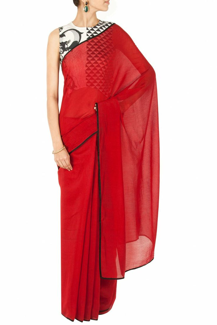 Deep red sari with printed asymmetrical blouse BY PAYAL SINGHAL. Shop now at perniaspopupshop.com