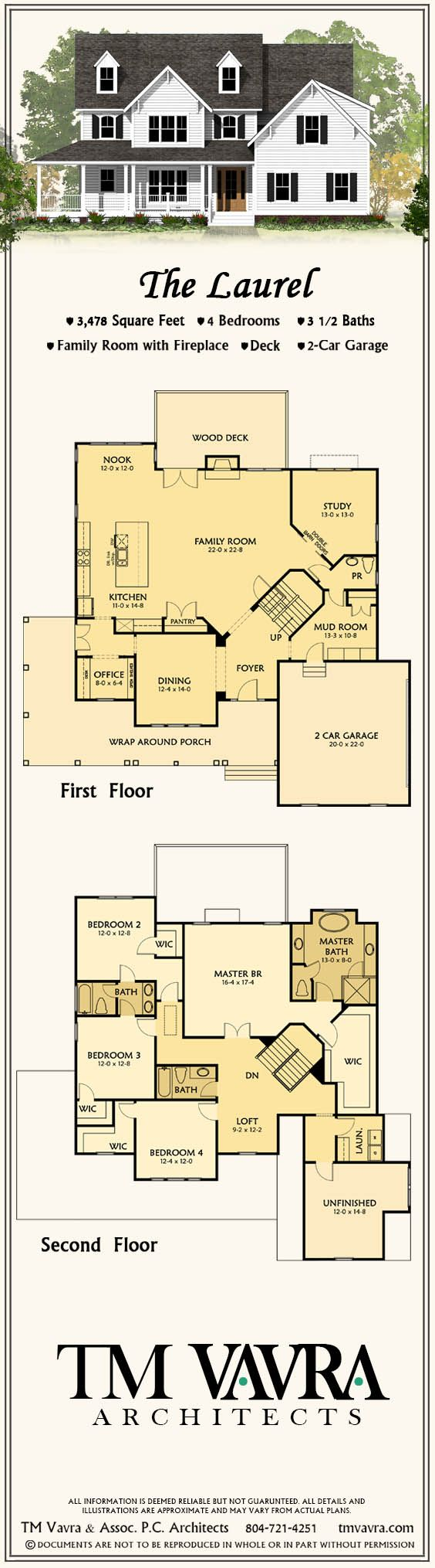 The Laurel house plan: 3,478 square feet, 4 bedrooms, 3.5 baths, family room with fireplace, deck, & 2-car garage (Plans available for purchase)
