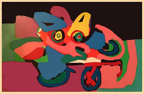 """A framed colour lithograph numbered 75/100, entitled """"Head On A One Wheel Wagon"""", by Dutch artist Karel Appel (25 April 1921 – 3 May 2006). Christiaan Karel Appel was a Dutch painter, sculptor, and poet. He started painting at the age of fourteen and studied at the Rijksakademie in Amsterdam in the 1940s. Appel was one of the founders of the Cobra avant-garde movement in 1948. Dated, numbered, titled, and signed """"Appel 71"""" in pencil."""