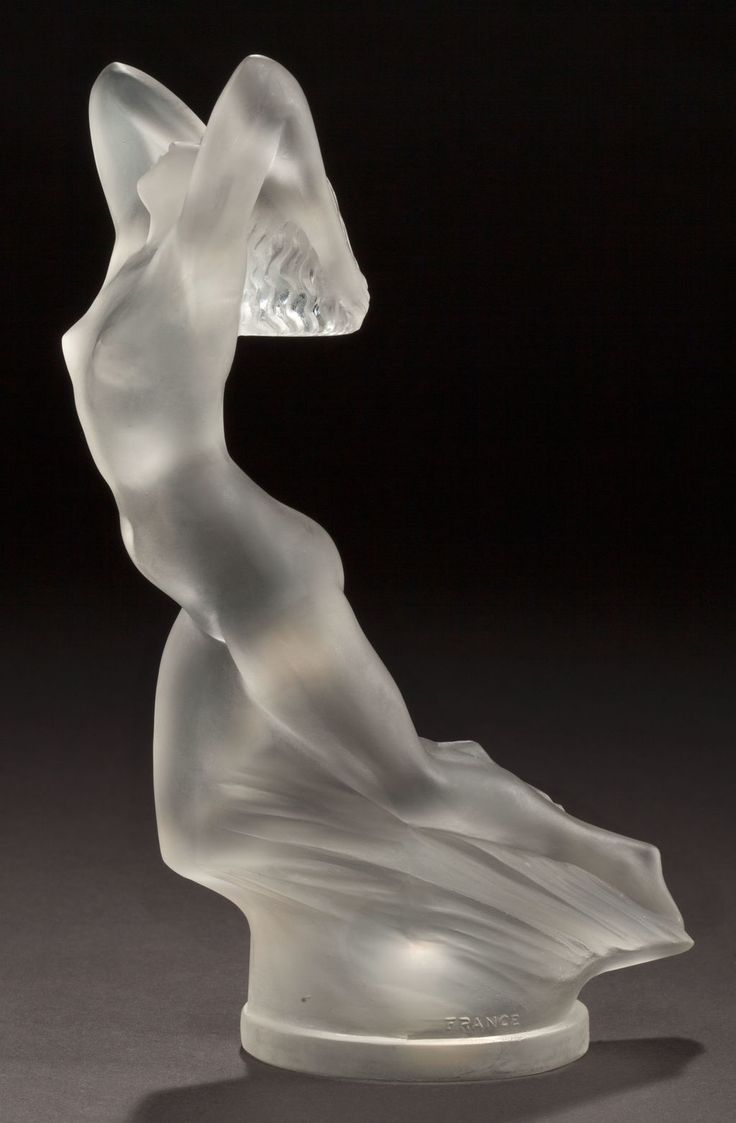 Lalique hood ornaments - Ren Lalique Clear An Frosted Glass Vitesse Mascot