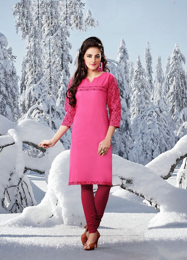 Pink color pure cotton Fabric Kurti. This Kurti is decorated with Maroon & Pink color print at Neck line and Sleeves which give it a charm.  Rate:- 695/- For orders contact +919870725209 or Whtsapp