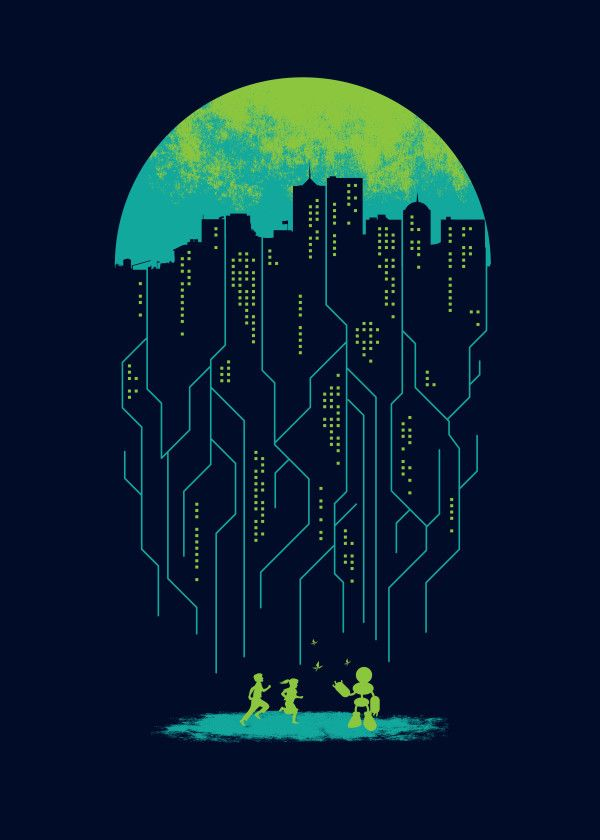 Displate Poster Electricity eletric #robot #city #future #kids #wired #night