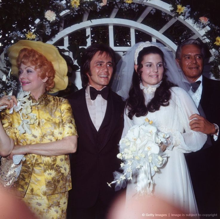 Image detail for -1971: American actors and comedians Lucille Ball (1911 - 1989) and her former husband, Cuban-born actor and bandleader Desi Arnaz (1917 - 1986), pose with their daughter, Lucie Arnaz, and her bridegroom, Phil Vandervort.