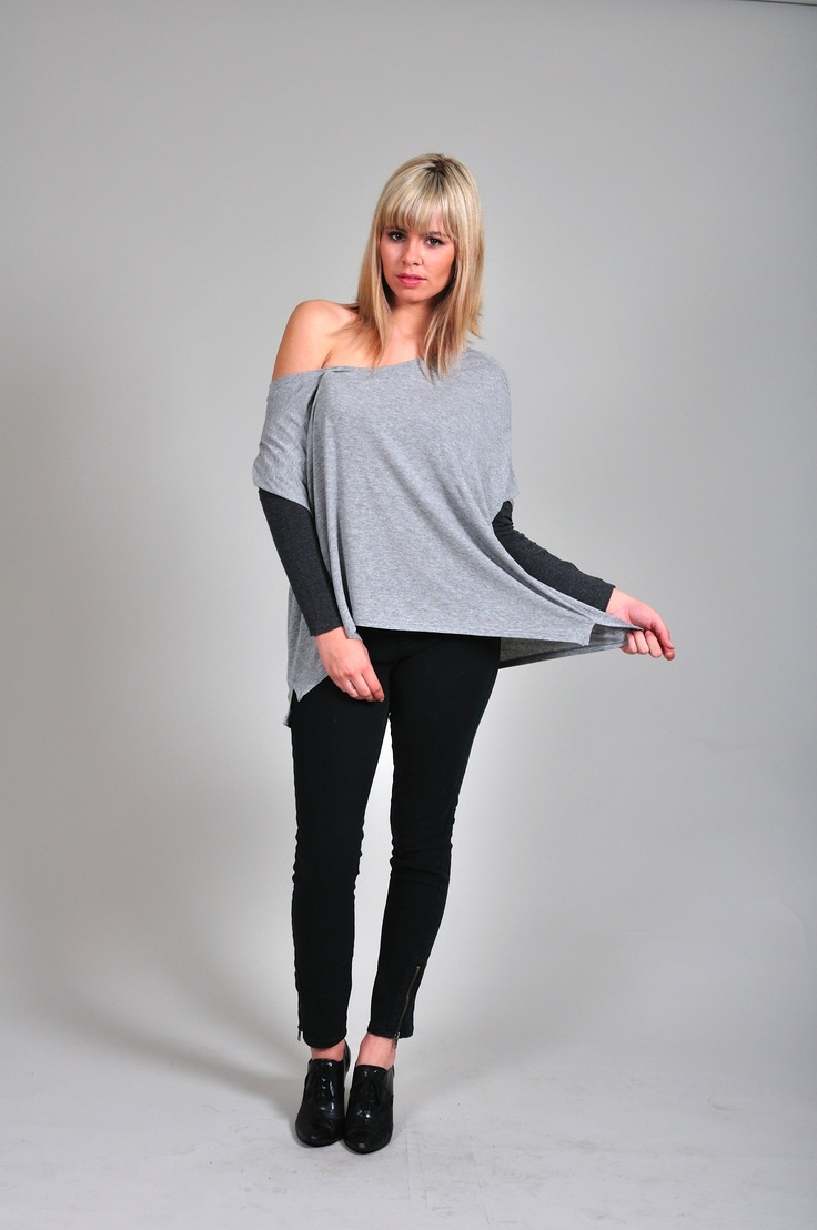 Diligo grey and black oversized fine jersey knit top | www.diligo.co.za